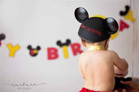 mickey mouse cake smash nurture photography www