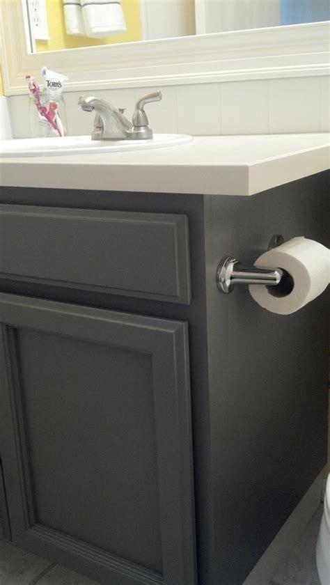 oak cabinets refinished slate grey   master bath
