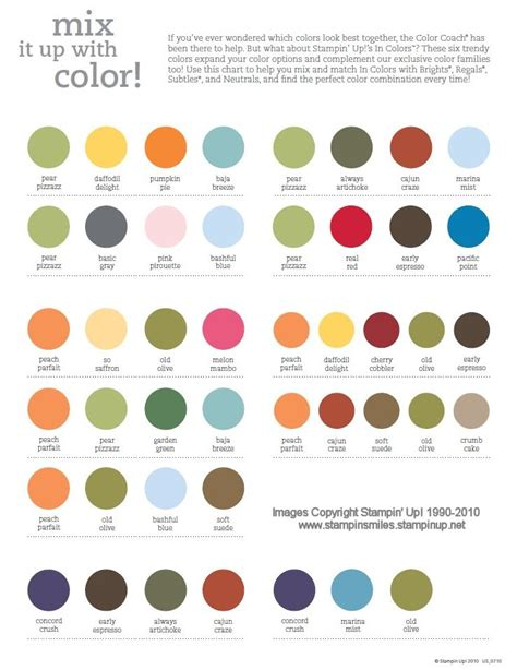 how to make different colors 2010 2011 stin up color combinations chart