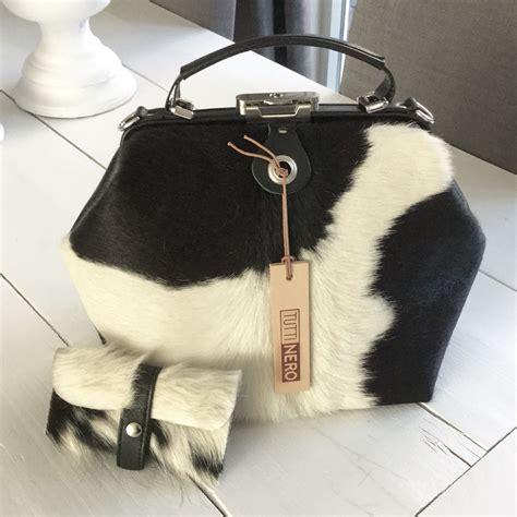koeienhuid tas cowskin bag cowhide bag black white