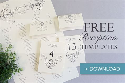 wedding table setting cards templates free printable wedding reception templates