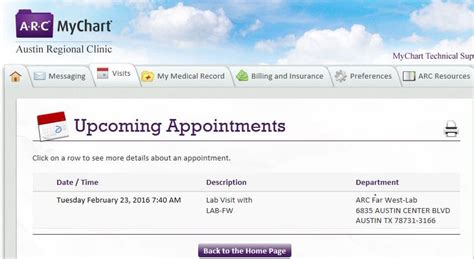 view upcoming lab appointments austin regional clinic