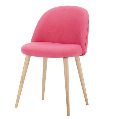 chaise en tissu chaise vintage en tissu et bouleau massif fuchsia