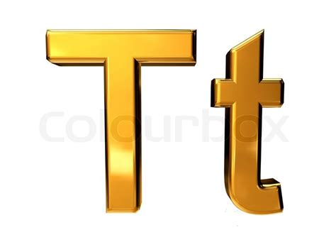 Gold Letter T Upper Case And Lower Case Isolated On White