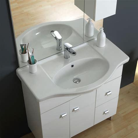 Bagno Lavabo Mobile A Terra Stile Classico Da 85 Cm Colore Bianco Kvstore