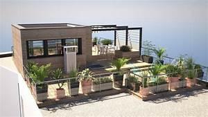 Aménagement Terrasse Appartement : am nagement d 39 une toiture terrasse avec sur l vation ossature bois en p riph rie de paris ~ Melissatoandfro.com Idées de Décoration