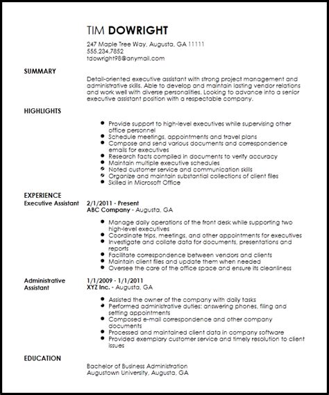 Resume Templates For Assistant by Free Professional Executive Assistant Resume Template