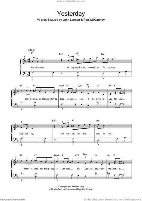 The selection of songs is quite impressive and touch on all genres of music. Beatles - Yesterday sheet music (beginner version 2) for piano solo (beginners)