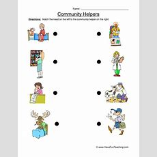 Resource  Kindergarten  Community Helper Worksheet Matching