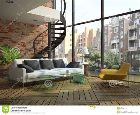 modern house floor plans free modern loft interior with part of second floor stock
