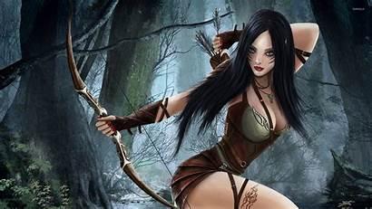 Elf Forest Brunette Fantasy Wallpapers Female Warrior