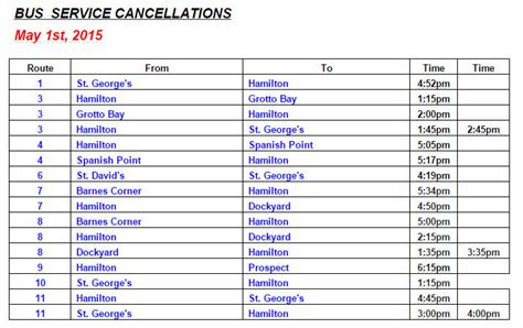 bus route cancellations list  friday  st bernews