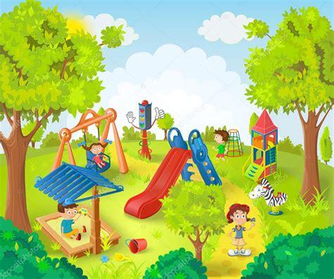 Park Clip Children In The Park Vector Illustration Stock