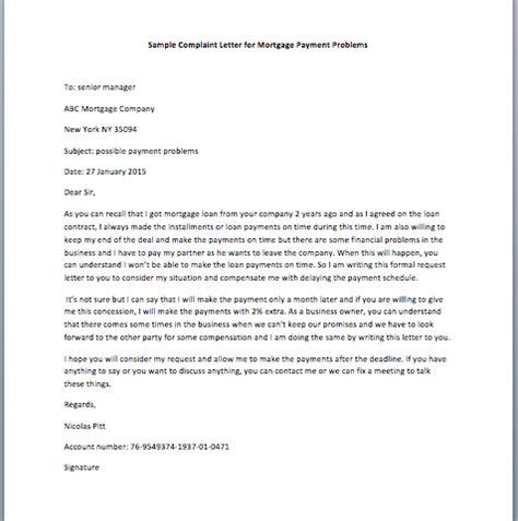 complaint letter  mortgage payment problems smart letters