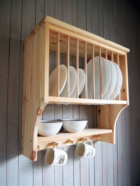 details  kitchen plate rack shelf solid pine wood wall mounted wooden   wooden