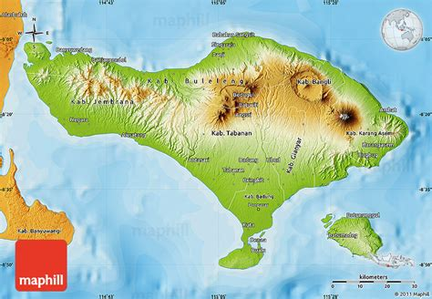 physical map  bali political