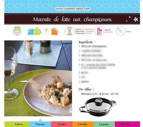 fiche recette cuisine fiche recette poisson marmite de lotte aux chignons