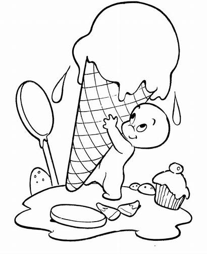 Ice Coloring Cream Pages Ghost Sheets Halloween
