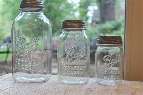 Vintage Mason Jar Clear Kitchen Canister Set Ribbed Jars