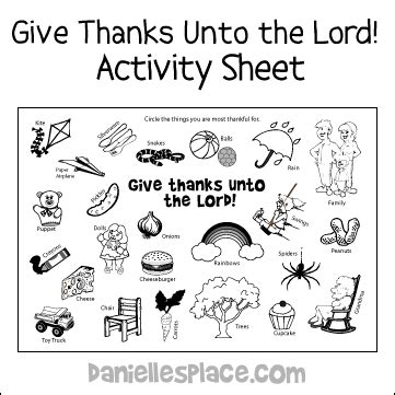 free sunday school lesson for children 853 | thanks activity sheet 5