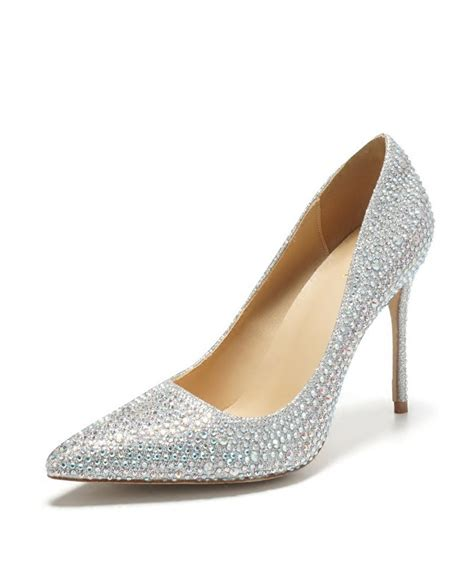 pointed toe silver bling prom shoes high heels  girls