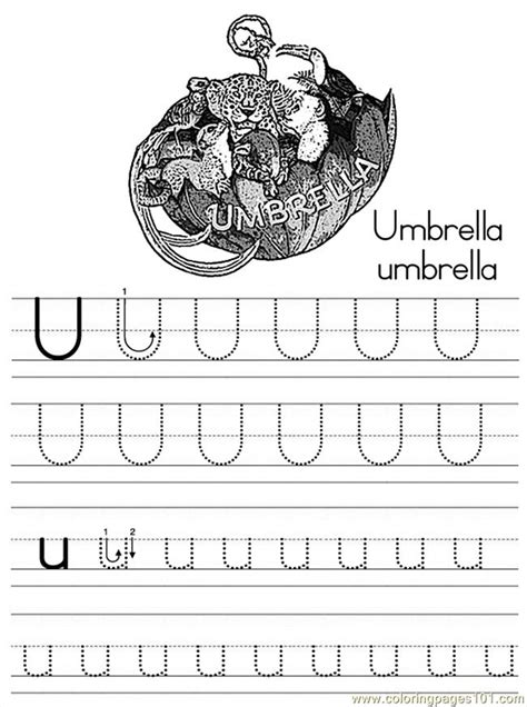 alphabet abc letter  umbrella coloring pages