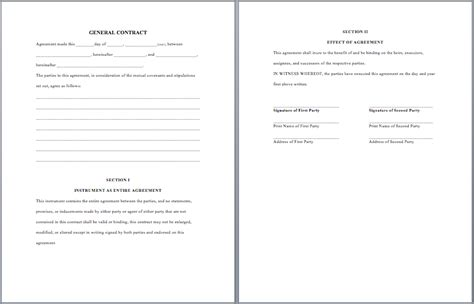 general purpose contract template word templates