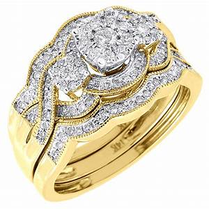 diamond wedding 3 piece bridal set 14k yellow gold round With 3 piece gold wedding ring sets