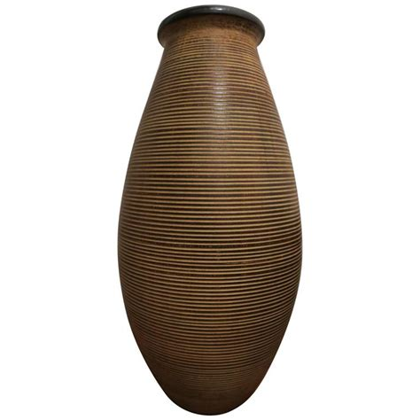 floor l vase large vintage fine ringed stoneware floor vase for sale at 1stdibs