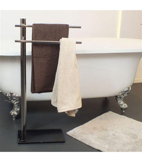 porte serviettes sur pied en inox et verre tremp 233 noir wadiga