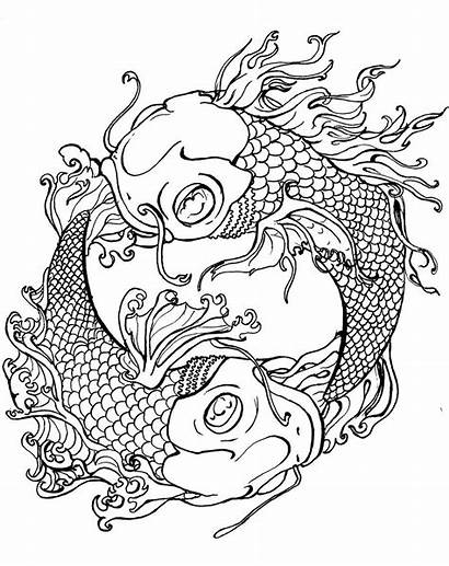 Coloring Pages Tattoo Koi Japanese Fish Dragon