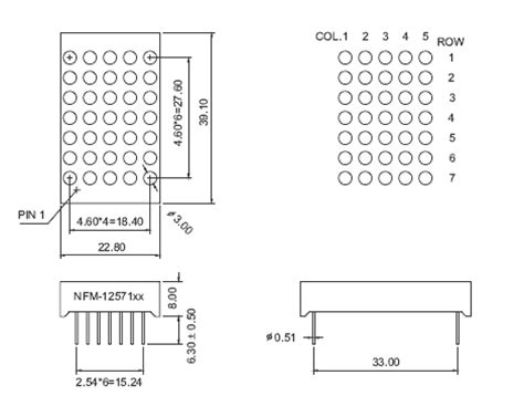 Infared Lamps by Red 5x7 Led Matrix Display Technical Data