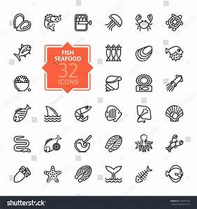 Fish Seafood Outline Icon Collection Vector Stock Vector ...
