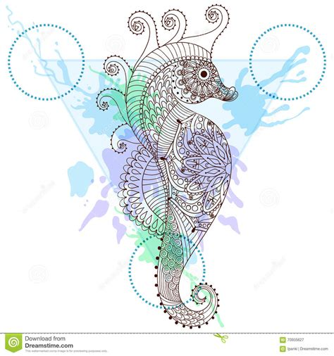 Zentangle Stylized Sea Horse In Triangle Frame With