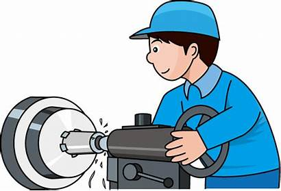 Lathe Clipart Manufacturing Production Clip Factory Worker