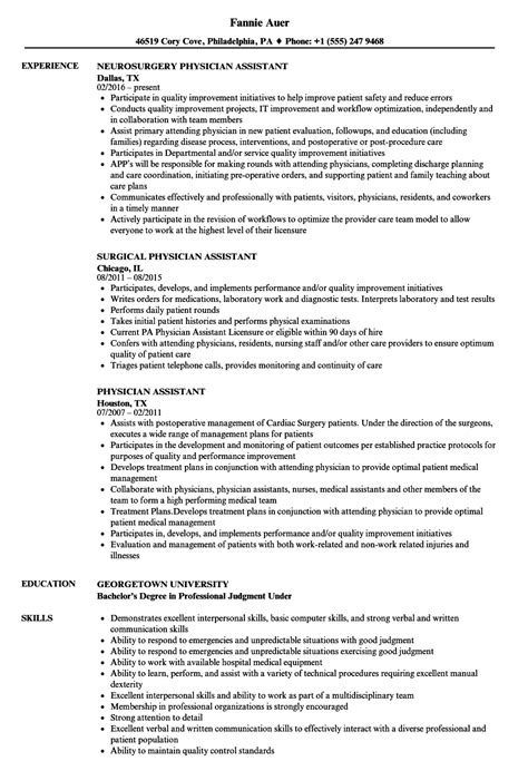 Physician Assistant Resume Templates by Physician Assistant Resume Sles Velvet
