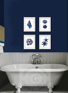 Coastal wall decor navy blue art set of beach