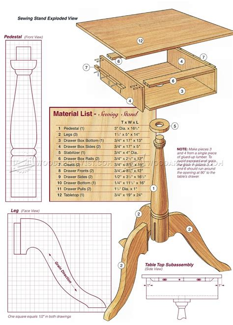 sewing stand plans woodarchivist