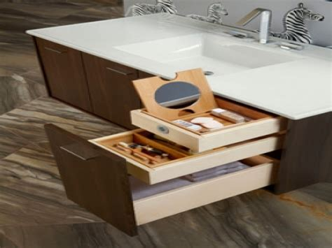 Red file cabinets, bathroom vanity drawer organizers
