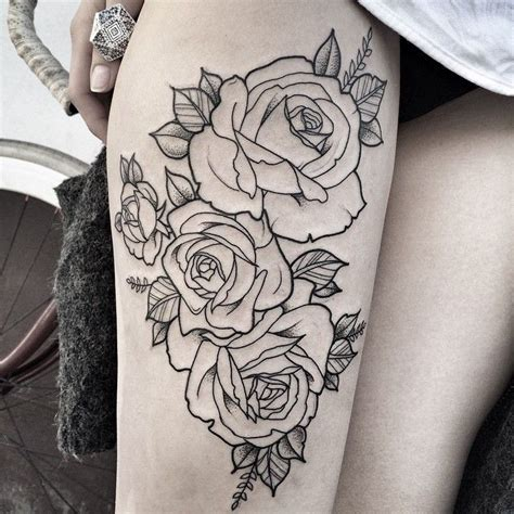 rose tattoo thigh ideas  pinterest thigh tattoos rose tattoo  hip  rose
