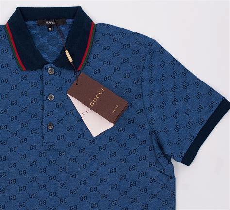 gucci polo shirt dark blue mens short sleeve  shirt gg