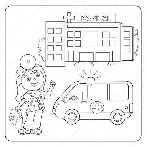 disegni da colorare pagina muta del medico automobile