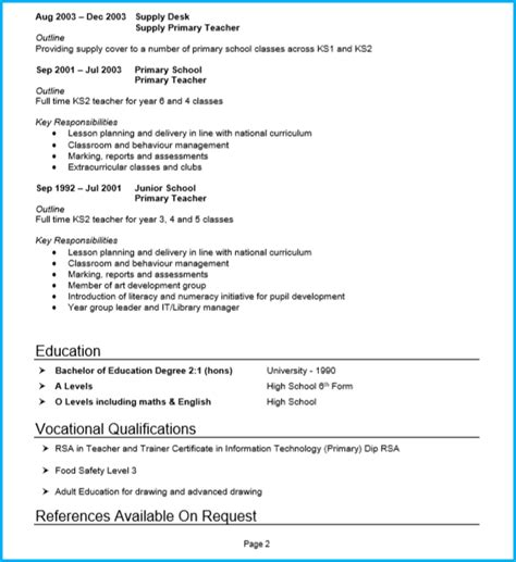 Pattern Of Cv Writing by 13 Curriculum Vitae For Teachers Sle Receipts Template