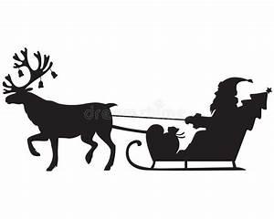 Santa Claus Riding A Sleigh With Reindeer Stock Vector