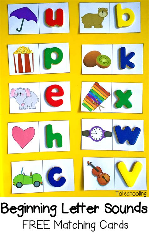 Beginning Letter Sounds Free Matching Cards  Totschooling  Toddler, Preschool, Kindergarten