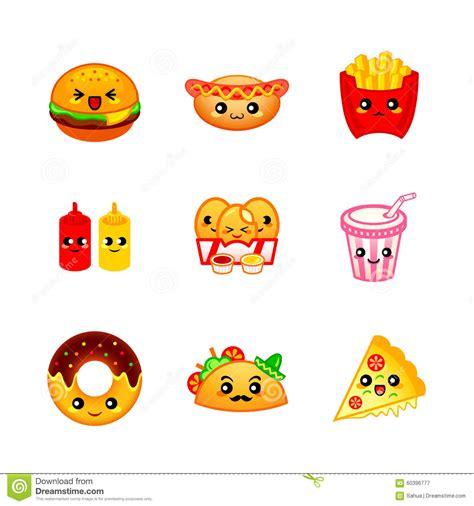 cuisine kawaii fast food icons stock vector illustration of food