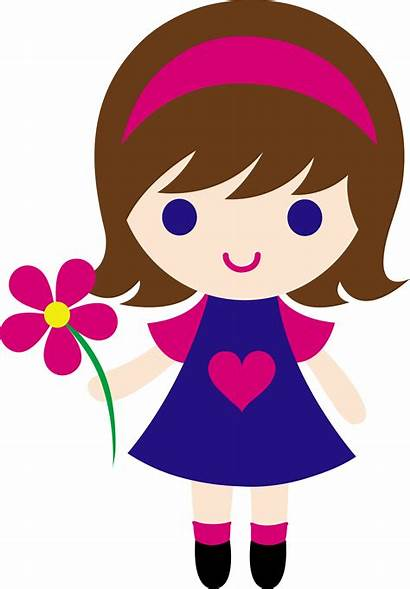Clip Flower Holding Daisy Clipart Cartoon Arts