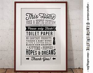 Bathroom Sign Septic System - Only Flush Toilet Paper no ...
