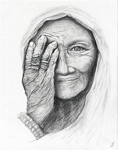 Old Woman Portrait Pencil Drawing - Contemporary - Fine