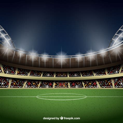 Stadium Background Football Stadium Background In Realistic Style Vector